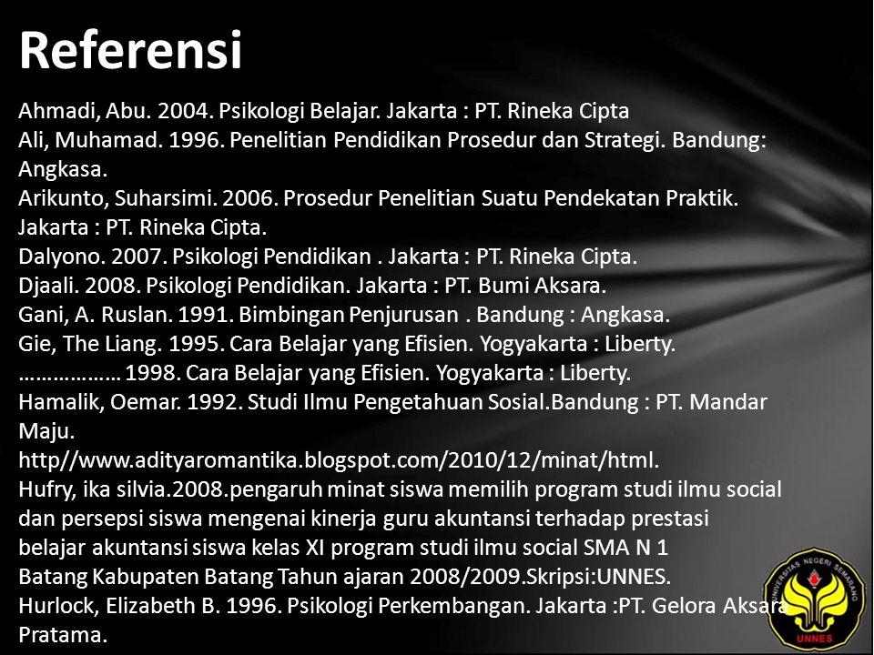 Referensi Ahmadi, Abu. 2004. Psikologi Belajar. Jakarta : PT. Rineka Cipta Ali, Muhamad. 1996. Penelitian Pendidikan Prosedur dan Strategi. Bandung: A