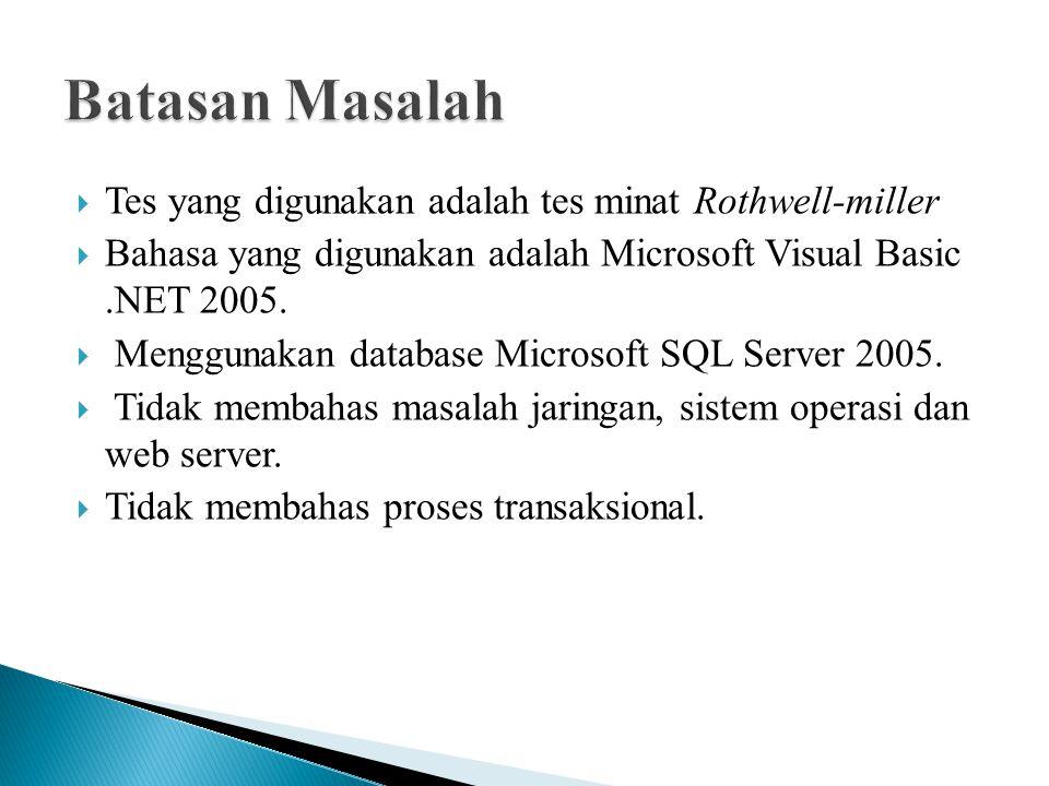  Tes yang digunakan adalah tes minat Rothwell-miller  Bahasa yang digunakan adalah Microsoft Visual Basic.NET 2005.  Menggunakan database Microsoft