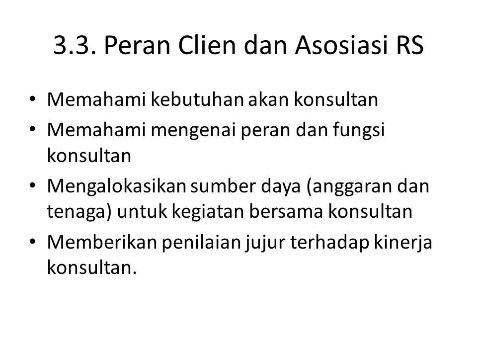 3.3. Peran Clien dan Asosiasi RS Memahami kebutuhan akan konsultan Memahami mengenai peran dan fungsi konsultan Mengalokasikan sumber daya (anggaran d