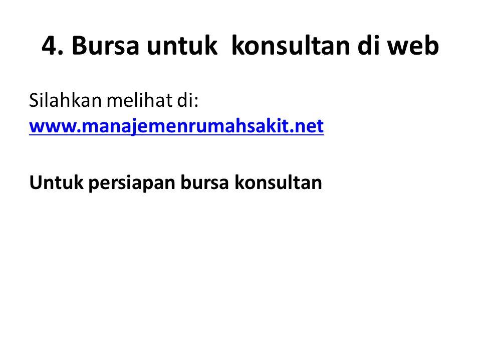 4. Bursa untuk konsultan di web Silahkan melihat di: www.manajemenrumahsakit.net www.manajemenrumahsakit.net Untuk persiapan bursa konsultan