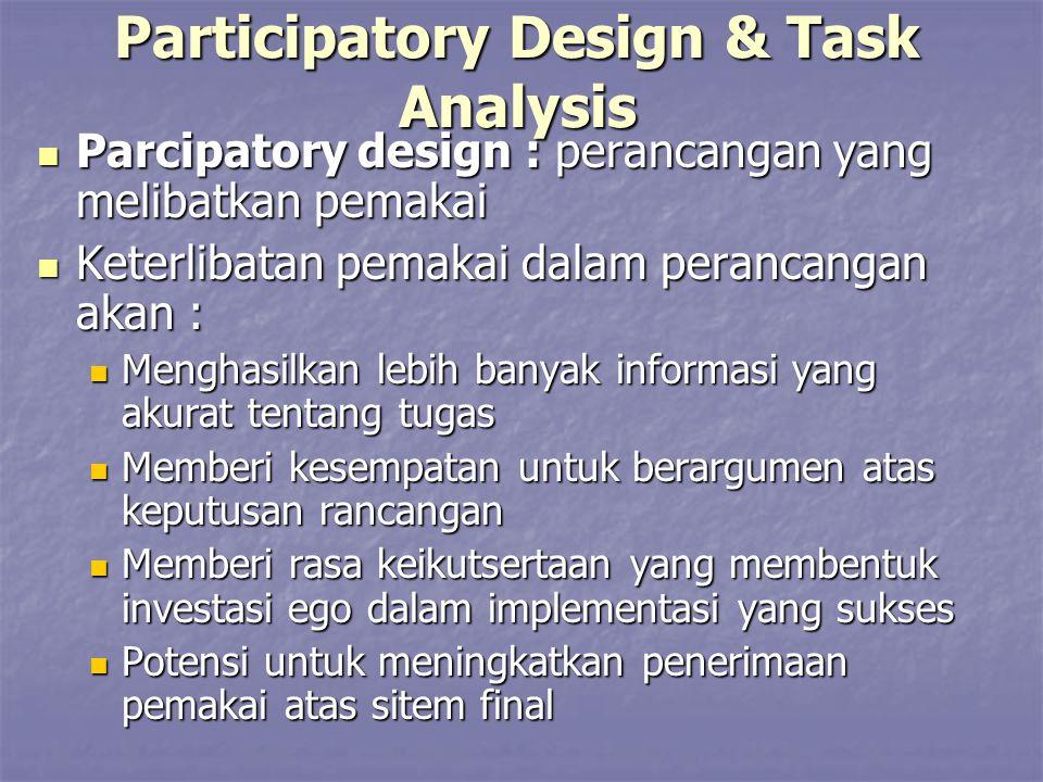 Participatory Design & Task Analysis Parcipatory design : perancangan yang melibatkan pemakai Parcipatory design : perancangan yang melibatkan pemakai
