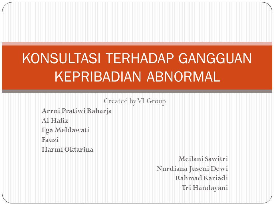 Created by VI Group Arrni Pratiwi Raharja Al Hafiz Ega Meldawati Fauzi Harmi Oktarina Meilani Sawitri Nurdiana Juseni Dewi Rahmad Kariadi Tri Handayan