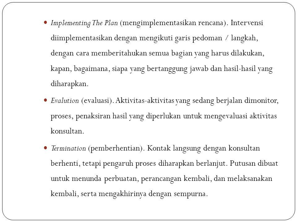 Implementing The Plan (mengimplementasikan rencana). Intervensi diimplementasikan dengan mengikuti garis pedoman / langkah, dengan cara memberitahukan