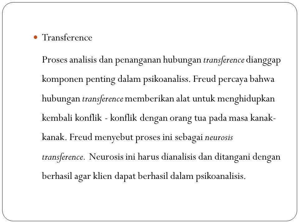 Transference Proses analisis dan penanganan hubungan transference dianggap komponen penting dalam psikoanaliss. Freud percaya bahwa hubungan transfere