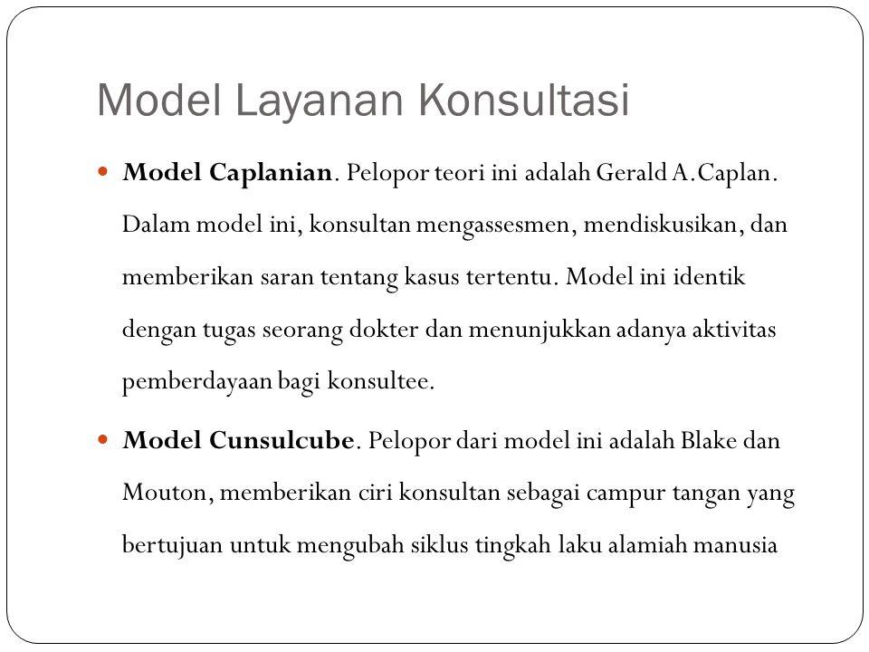 Model Layanan Konsultasi Model Caplanian. Pelopor teori ini adalah Gerald A.Caplan. Dalam model ini, konsultan mengassesmen, mendiskusikan, dan member