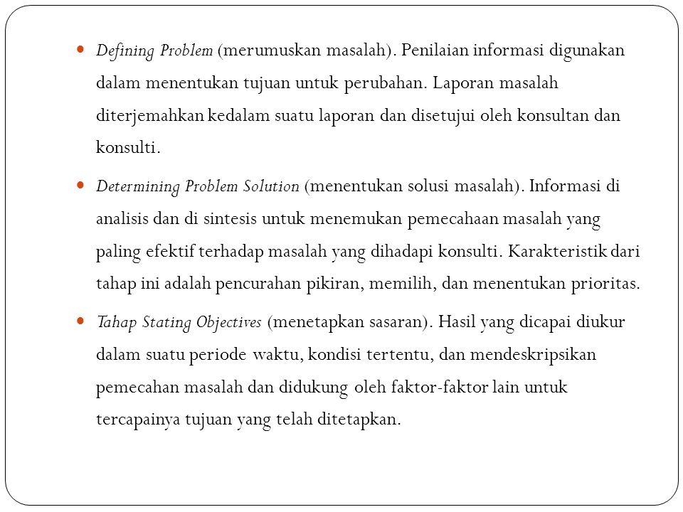 Defining Problem (merumuskan masalah). Penilaian informasi digunakan dalam menentukan tujuan untuk perubahan. Laporan masalah diterjemahkan kedalam su