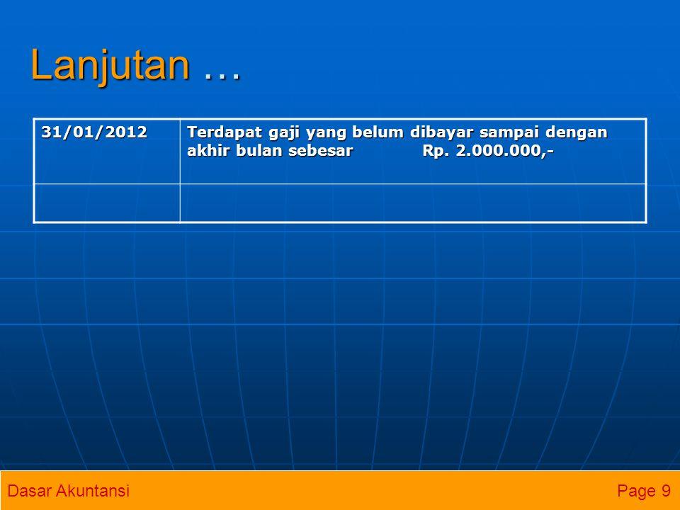 Lanjutan … 31/01/2012 Terdapat gaji yang belum dibayar sampai dengan akhir bulan sebesar Rp. 2.000.000,- Dasar Akuntansi Page 9