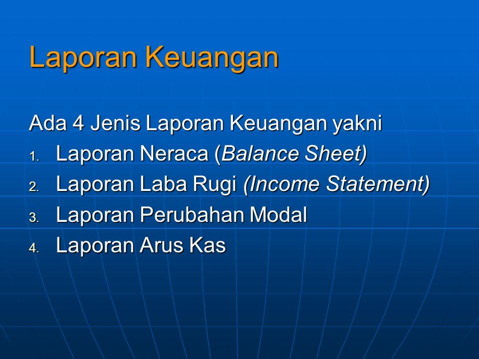 Laporan Keuangan Ada 4 Jenis Laporan Keuangan yakni 1. Laporan Neraca (Balance Sheet) 2. Laporan Laba Rugi (Income Statement) 3. Laporan Perubahan Mod
