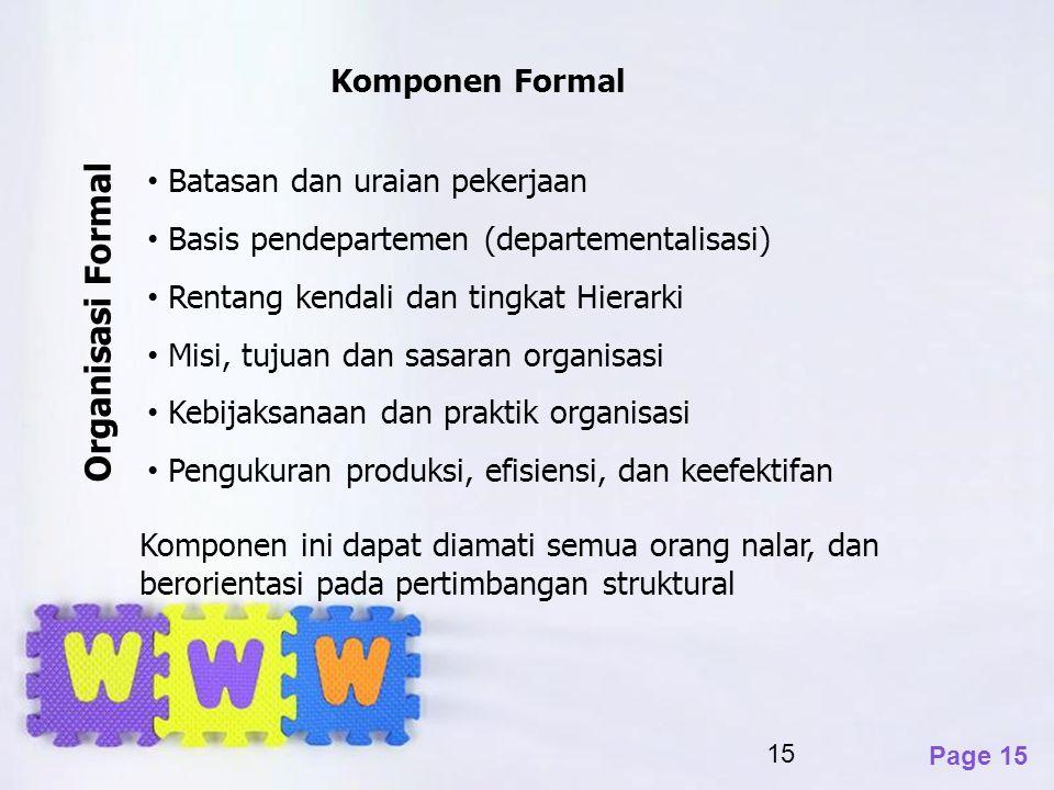 Page 15 15 Komponen Formal Batasan dan uraian pekerjaan Basis pendepartemen (departementalisasi) Rentang kendali dan tingkat Hierarki Misi, tujuan dan