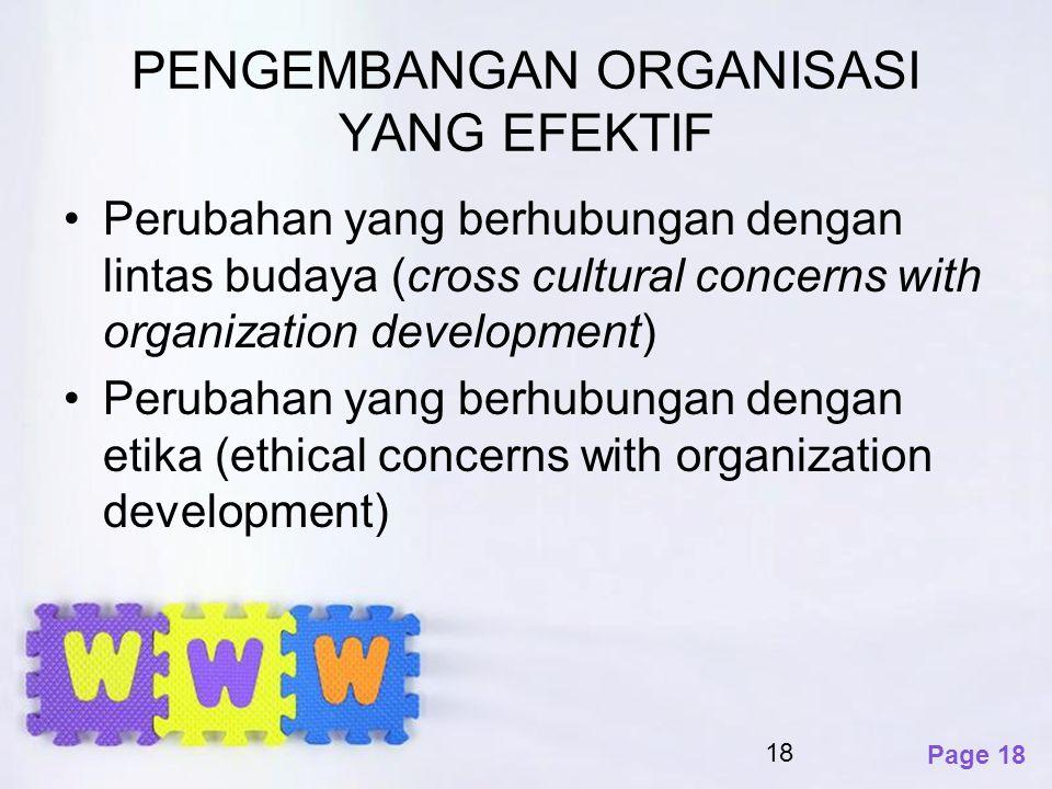 Page 18 PENGEMBANGAN ORGANISASI YANG EFEKTIF Perubahan yang berhubungan dengan lintas budaya (cross cultural concerns with organization development) P