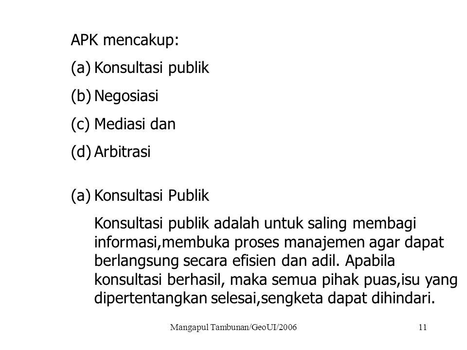 Mangapul Tambunan/GeoUI/200611 APK mencakup: (a)Konsultasi publik (b)Negosiasi (c)Mediasi dan (d)Arbitrasi (a)Konsultasi Publik Konsultasi publik adal