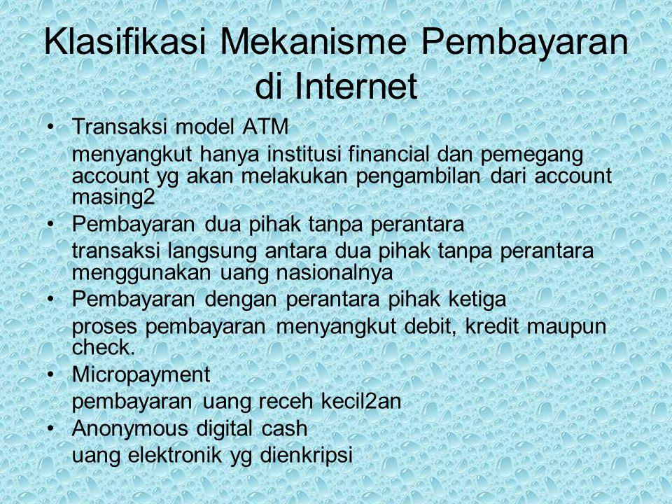 Klasifikasi Mekanisme Pembayaran di Internet Transaksi model ATM menyangkut hanya institusi financial dan pemegang account yg akan melakukan pengambil