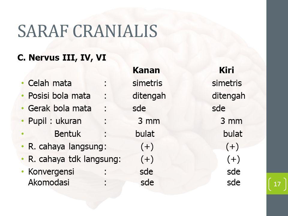 SARAF CRANIALIS C. Nervus III, IV, VI KananKiri Celah mata: simetris simetris Posisi bola mata: ditengah ditengah Gerak bola mata:sde sde Pupil : ukur