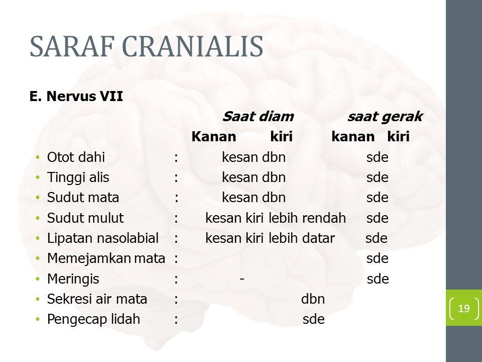 SARAF CRANIALIS E. Nervus VII Saat diam saat gerak Kanan kiri kanan kiri Otot dahi:kesan dbn sde Tinggi alis:kesan dbnsde Sudut mata : kesan dbnsde Su
