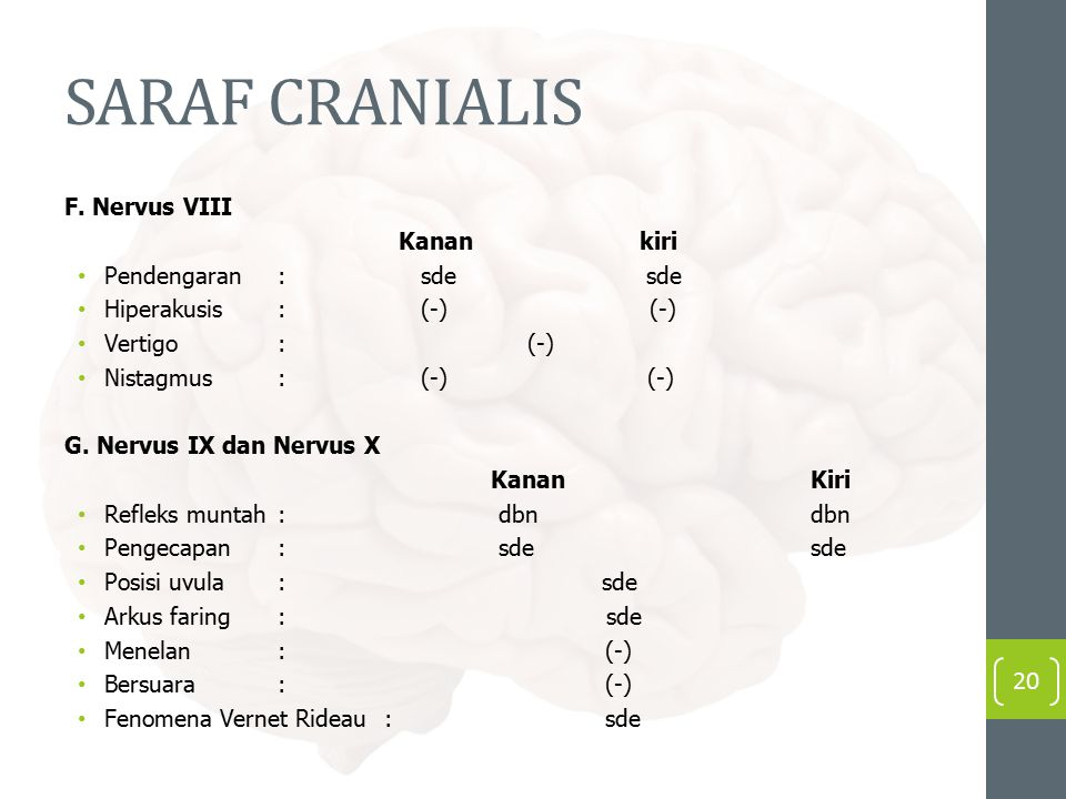 SARAF CRANIALIS F. Nervus VIII Kanan kiri Pendengaran: sde sde Hiperakusis: (-) (-) Vertigo : (-) Nistagmus: (-) (-) G. Nervus IX dan Nervus X KananKi