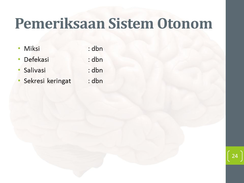 Pemeriksaan Sistem Otonom Miksi: dbn Defekasi: dbn Salivasi: dbn Sekresi keringat: dbn 24