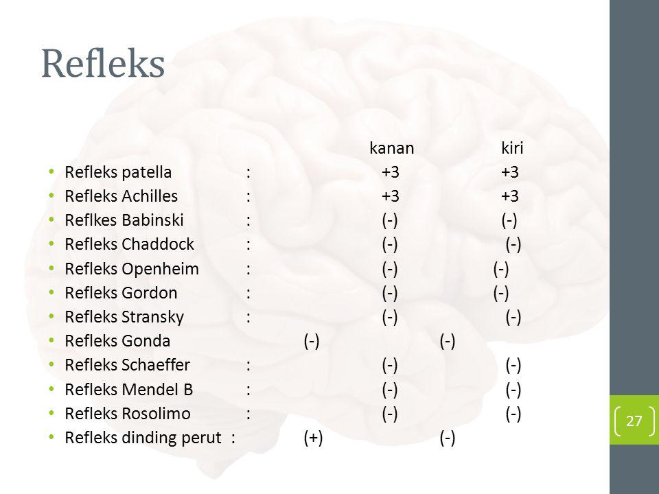 Refleks kanan kiri Refleks patella : +3+3 Refleks Achilles : +3+3 Reflkes Babinski : (-)(-) Refleks Chaddock : (-) (-) Refleks Openheim : (-) (-) Refl