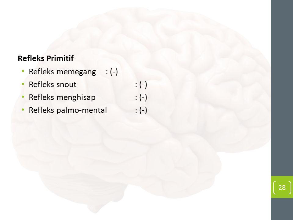 Refleks Primitif Refleks memegang: (-) Refleks snout: (-) Refleks menghisap: (-) Refleks palmo-mental: (-) 28