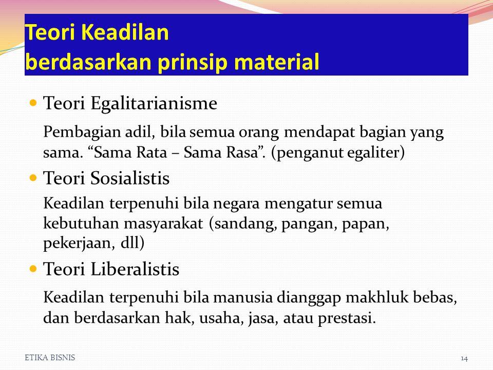 ETIKA BISNIS14 Teori Keadilan berdasarkan prinsip material Teori Egalitarianisme Pembagian adil, bila semua orang mendapat bagian yang sama.