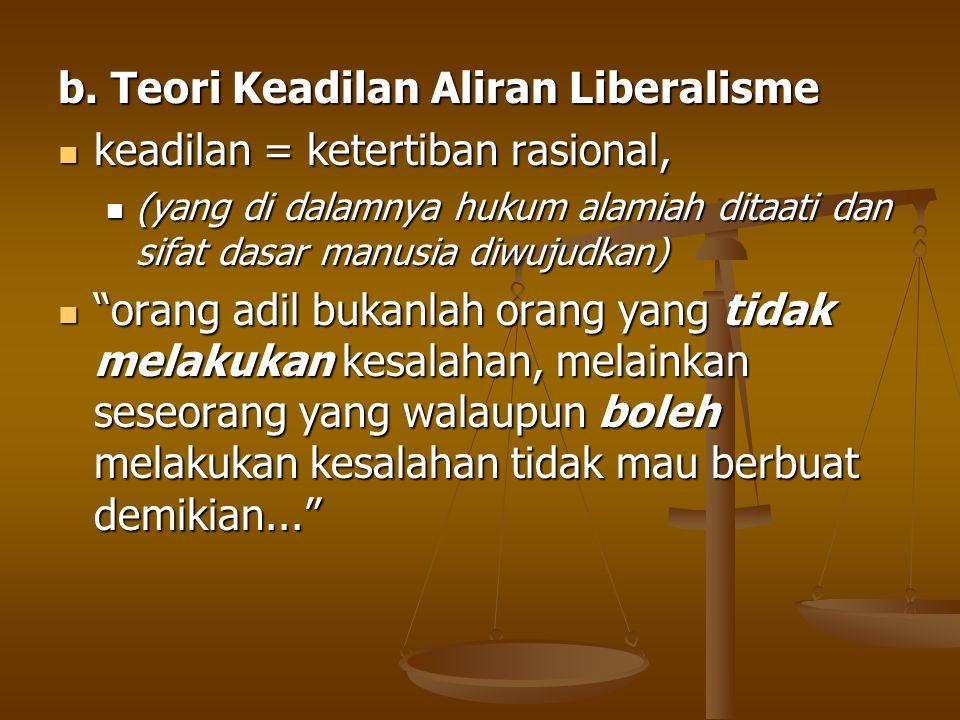 b. Teori Keadilan Aliran Liberalisme keadilan = ketertiban rasional, keadilan = ketertiban rasional, (yang di dalamnya hukum alamiah ditaati dan sifat