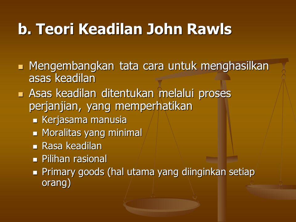 b. Teori Keadilan John Rawls Mengembangkan tata cara untuk menghasilkan asas keadilan Mengembangkan tata cara untuk menghasilkan asas keadilan Asas ke