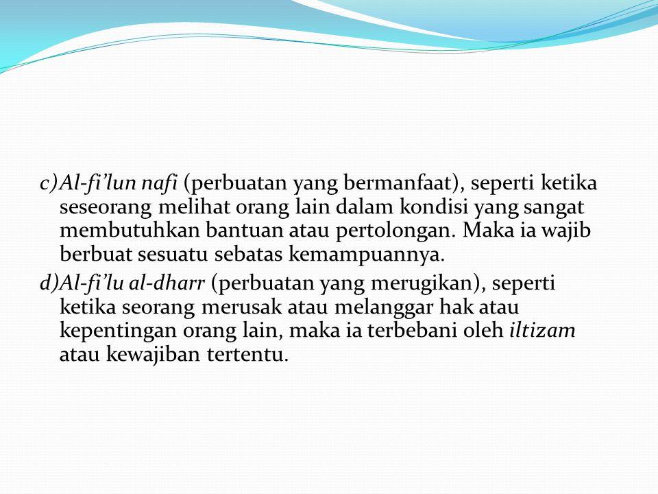 c)Al-fi'lun nafi (perbuatan yang bermanfaat), seperti ketika seseorang melihat orang lain dalam kondisi yang sangat membutuhkan bantuan atau pertolong