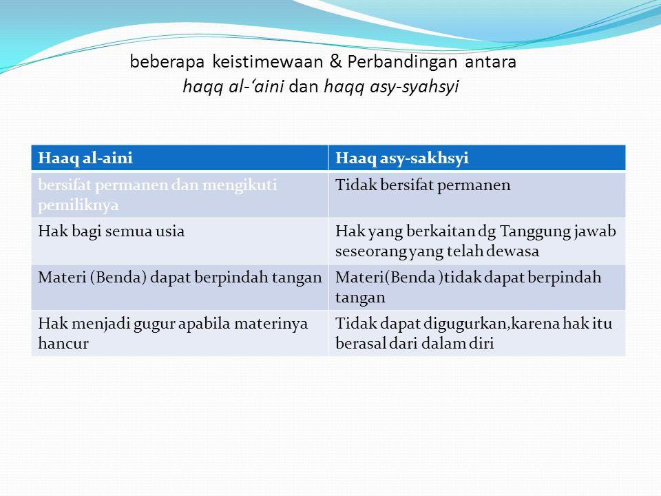 beberapa keistimewaan & Perbandingan antara haqq al-'aini dan haqq asy-syahsyi: Haaq al-ainiHaaq asy-sakhsyi bersifat permanen dan mengikuti pemilikny
