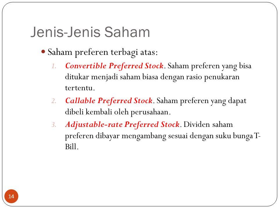 Jenis-Jenis Saham 14 Saham preferen terbagi atas: 1.