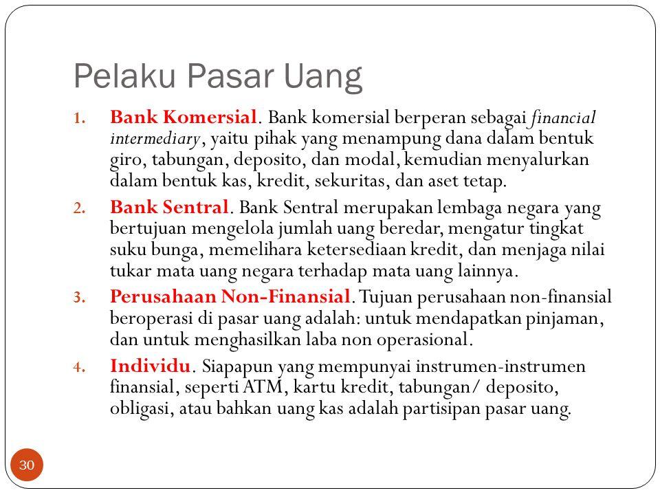 Pelaku Pasar Uang 30 1.Bank Komersial.