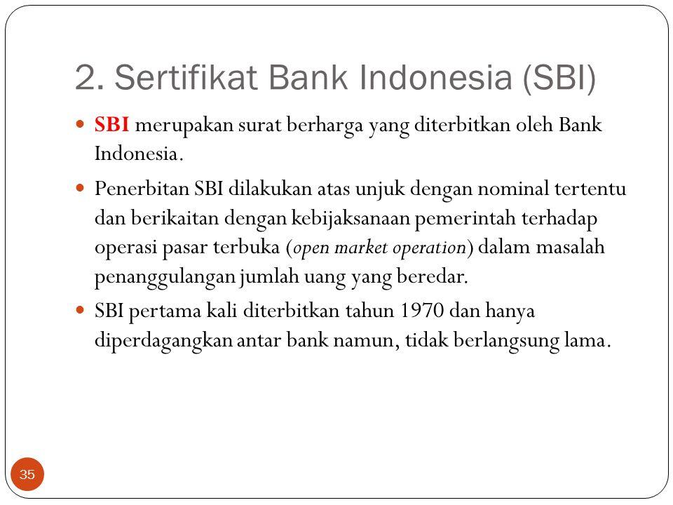 2. Sertifikat Bank Indonesia (SBI) 35 SBI merupakan surat berharga yang diterbitkan oleh Bank Indonesia. Penerbitan SBI dilakukan atas unjuk dengan no