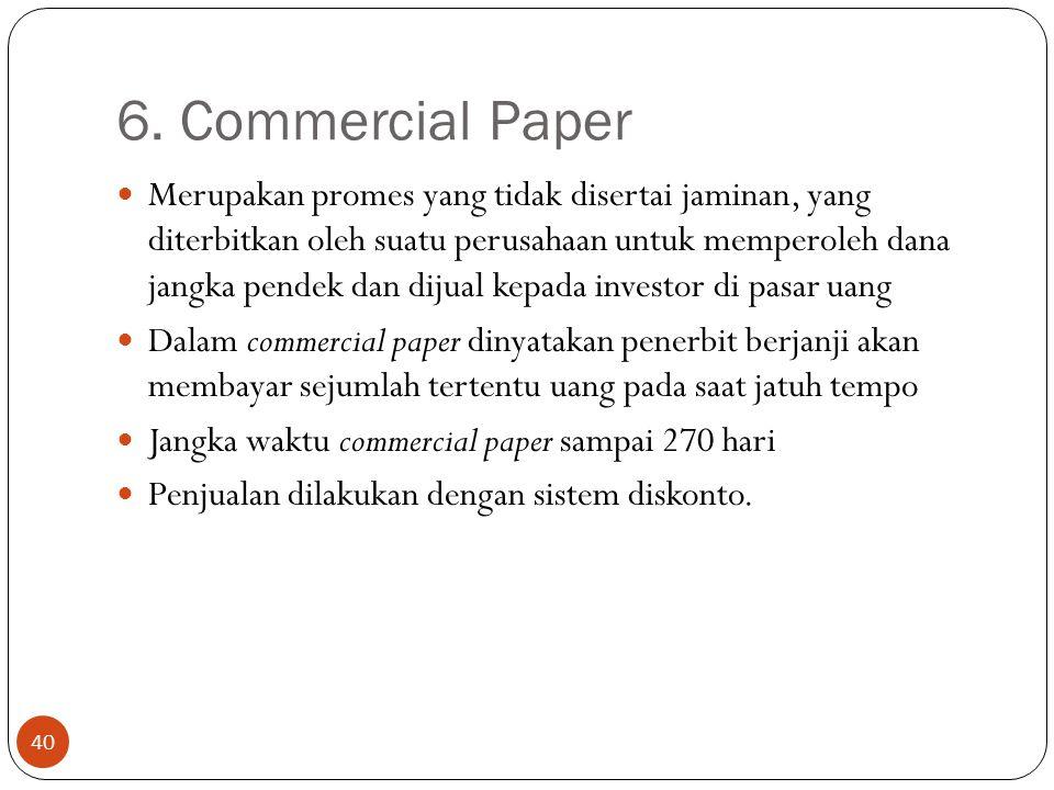 6. Commercial Paper 40 Merupakan promes yang tidak disertai jaminan, yang diterbitkan oleh suatu perusahaan untuk memperoleh dana jangka pendek dan di