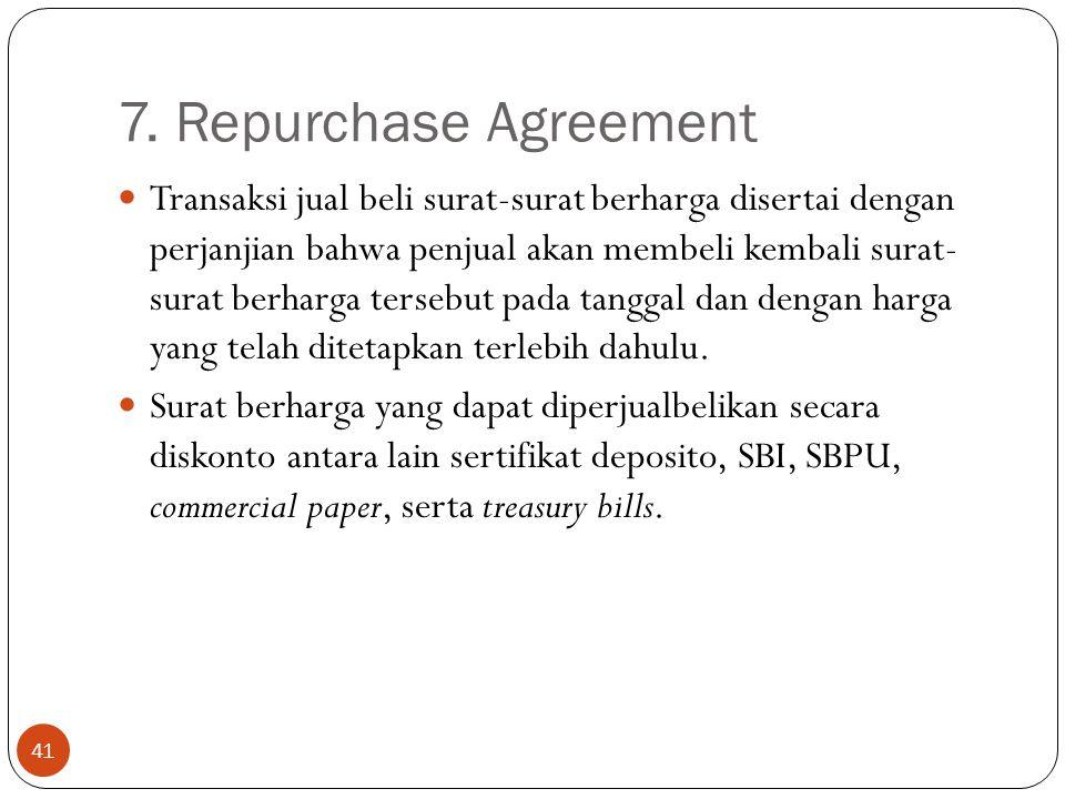 7. Repurchase Agreement 41 Transaksi jual beli surat-surat berharga disertai dengan perjanjian bahwa penjual akan membeli kembali surat- surat berharg