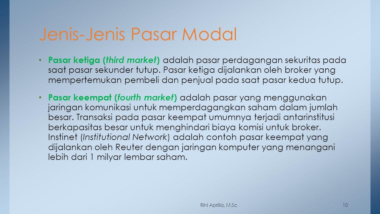Jenis-Jenis Pasar Modal Pasar ketiga ( third market ) adalah pasar perdagangan sekuritas pada saat pasar sekunder tutup. Pasar ketiga dijalankan oleh