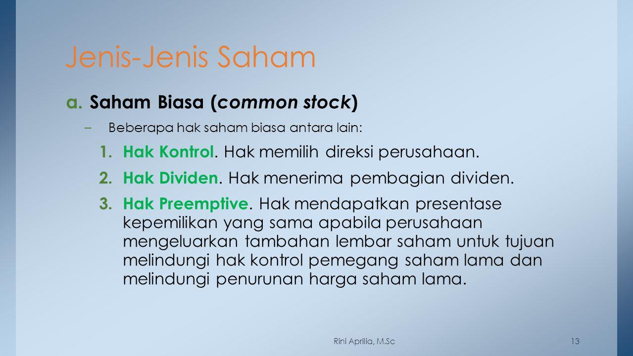 Jenis-Jenis Saham a. Saham Biasa ( common stock ) –Beberapa hak saham biasa antara lain: 1. Hak Kontrol. Hak memilih direksi perusahaan. 2. Hak Divide