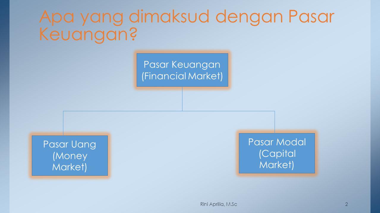 2 Apa yang dimaksud dengan Pasar Keuangan? Pasar Keuangan (Financial Market) Pasar Uang (Money Market) Pasar Modal (Capital Market) Rini Aprilia, M.Sc