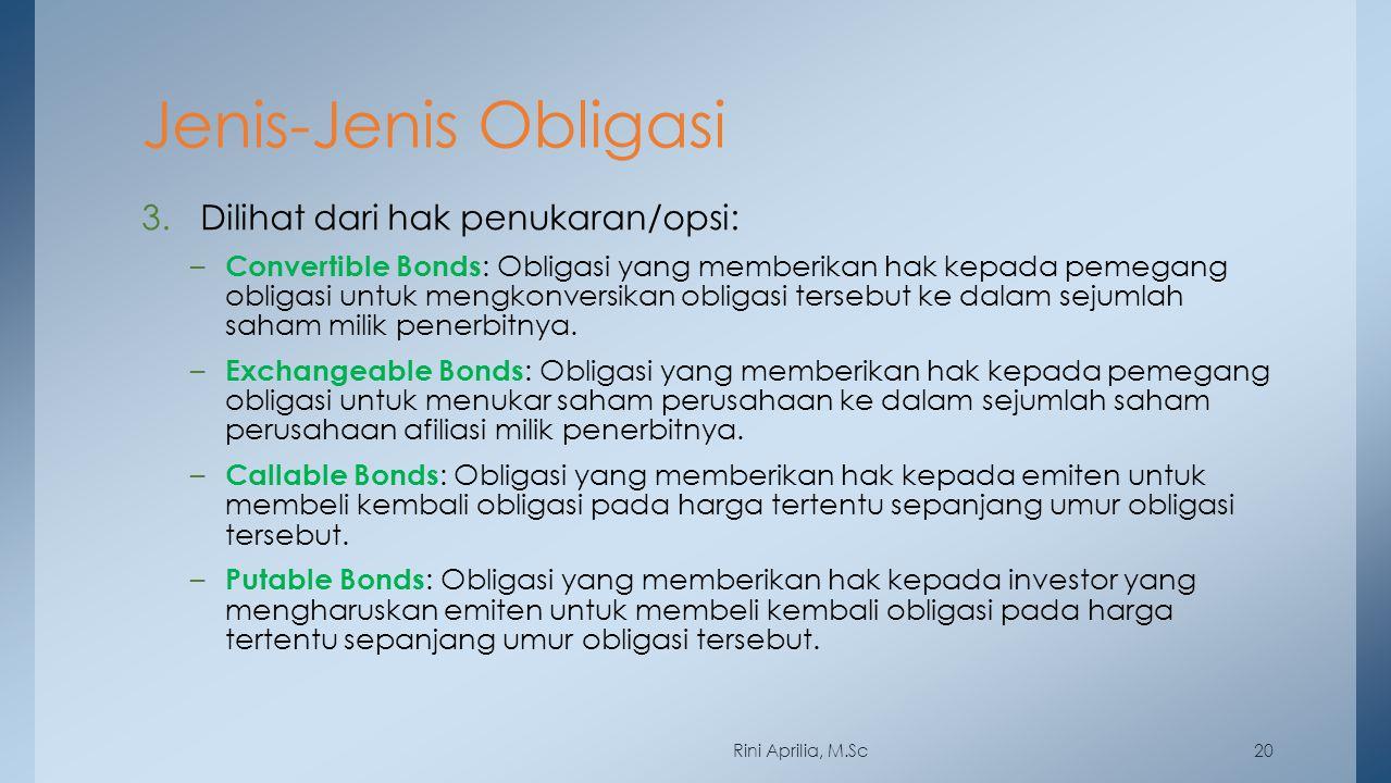 Jenis-Jenis Obligasi 3.Dilihat dari hak penukaran/opsi: – Convertible Bonds : Obligasi yang memberikan hak kepada pemegang obligasi untuk mengkonversi