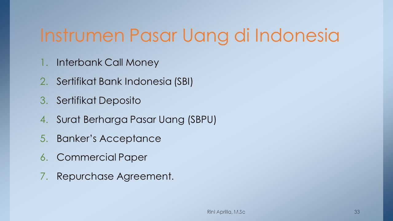 Instrumen Pasar Uang di Indonesia 1.Interbank Call Money 2.Sertifikat Bank Indonesia (SBI) 3.Sertifikat Deposito 4.Surat Berharga Pasar Uang (SBPU) 5.