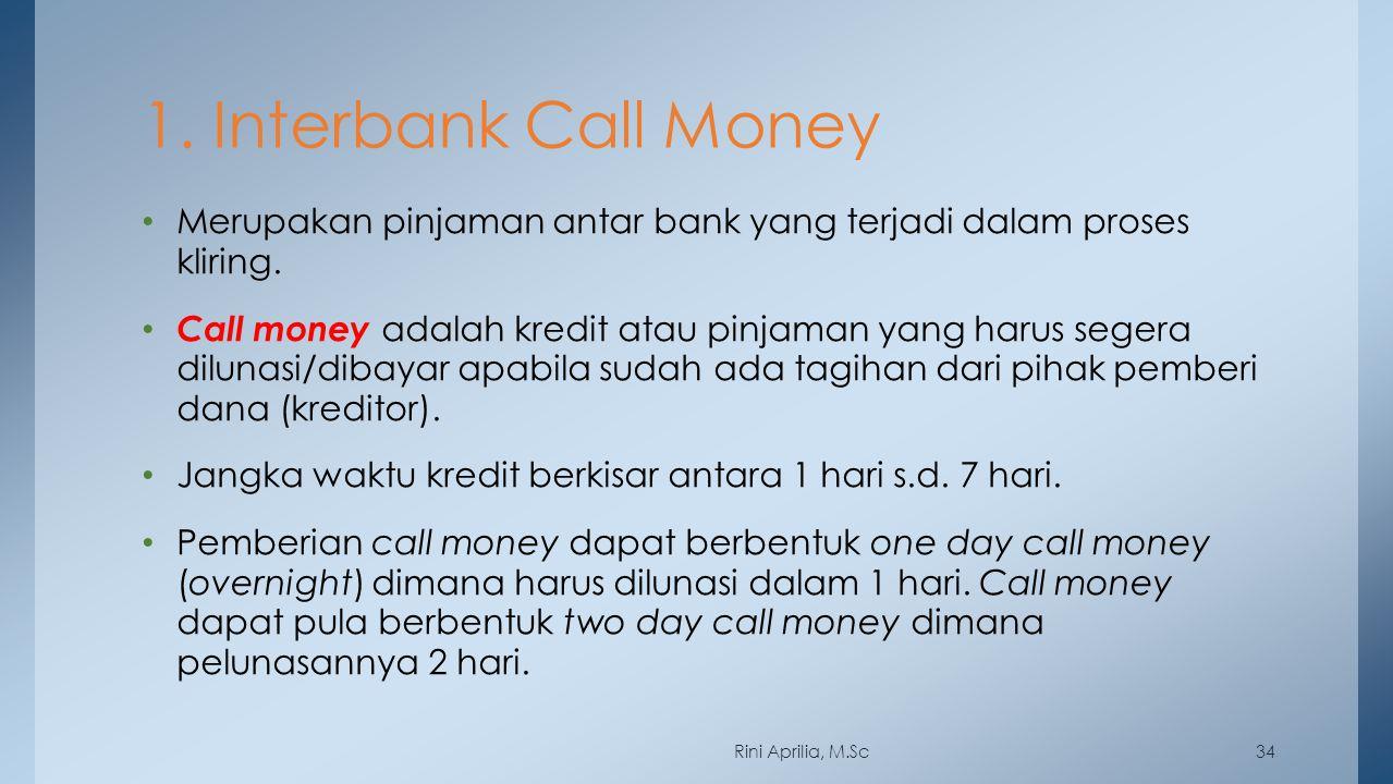 1. Interbank Call Money Merupakan pinjaman antar bank yang terjadi dalam proses kliring. Call money adalah kredit atau pinjaman yang harus segera dilu