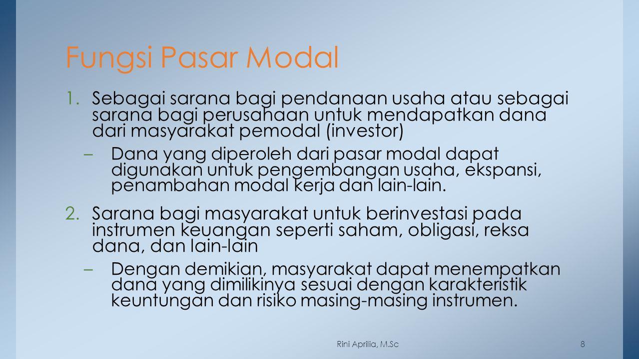 Fungsi Pasar Modal 1.Sebagai sarana bagi pendanaan usaha atau sebagai sarana bagi perusahaan untuk mendapatkan dana dari masyarakat pemodal (investor)
