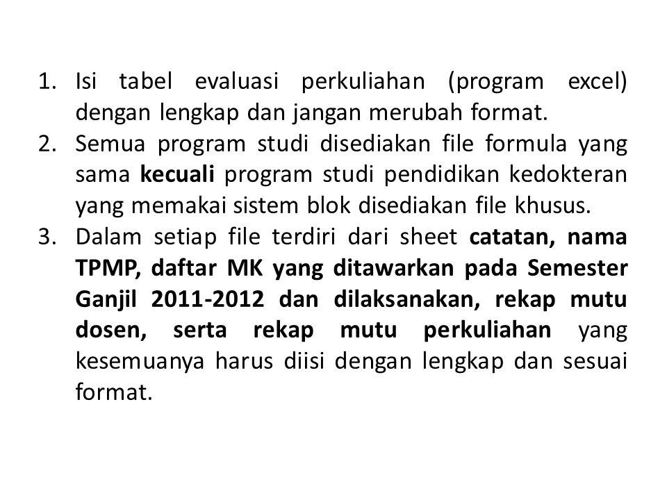 1.Isi tabel evaluasi perkuliahan (program excel) dengan lengkap dan jangan merubah format. 2.Semua program studi disediakan file formula yang sama kec