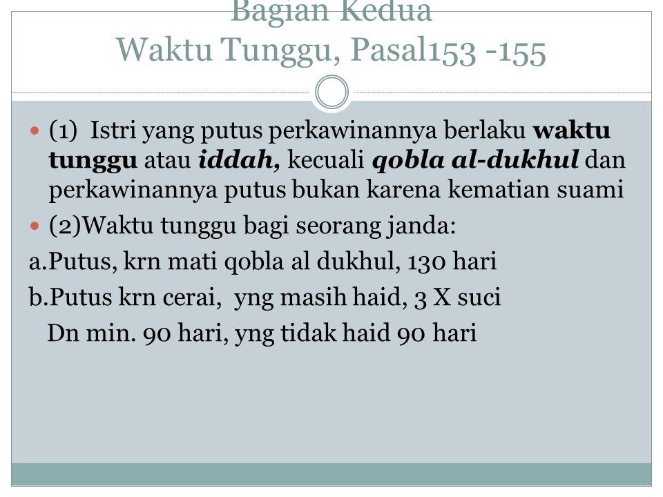 Bagian Kedua Waktu Tunggu, Pasal153 -155 (1) Istri yang putus perkawinannya berlaku waktu tunggu atau iddah, kecuali qobla al-dukhul dan perkawinannya