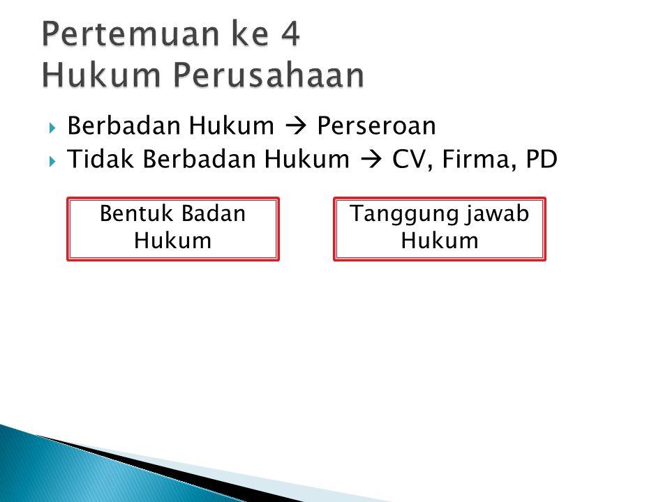  Berbadan Hukum  Perseroan  Tidak Berbadan Hukum  CV, Firma, PD Bentuk Badan Hukum Tanggung jawab Hukum