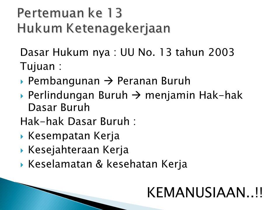 Dasar Hukum nya : UU No. 13 tahun 2003 Tujuan :  Pembangunan  Peranan Buruh  Perlindungan Buruh  menjamin Hak-hak Dasar Buruh Hak-hak Dasar Buruh