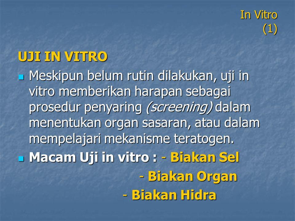 In Vitro (1) UJI IN VITRO Meskipun belum rutin dilakukan, uji in vitro memberikan harapan sebagai prosedur penyaring (screening) dalam menentukan orga