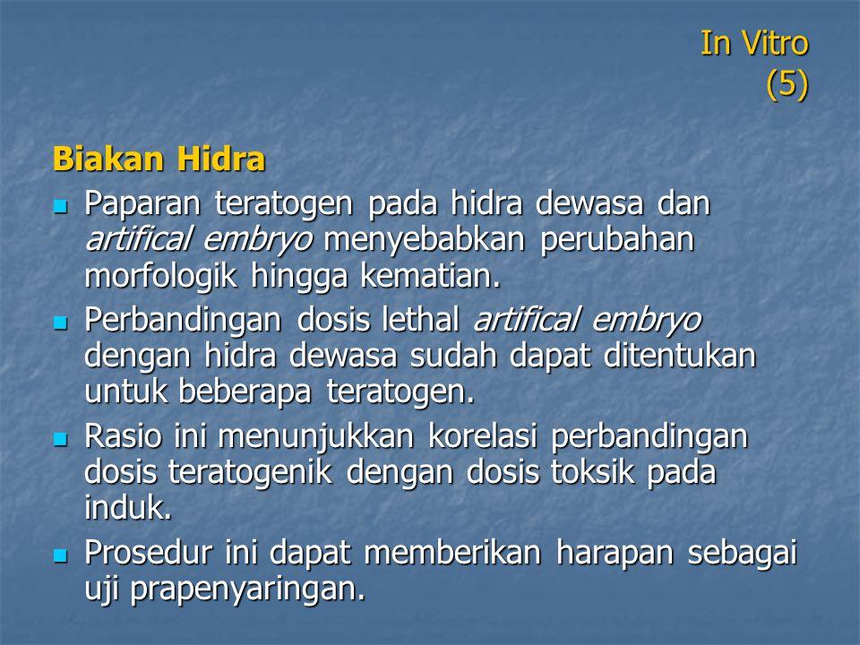 In Vitro (5) Biakan Hidra Paparan teratogen pada hidra dewasa dan artifical embryo menyebabkan perubahan morfologik hingga kematian. Paparan teratogen