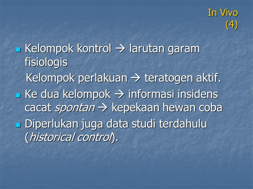 In Vivo (4) Kelompok kontrol  larutan garam fisiologis Kelompok kontrol  larutan garam fisiologis Kelompok perlakuan  teratogen aktif. Kelompok per