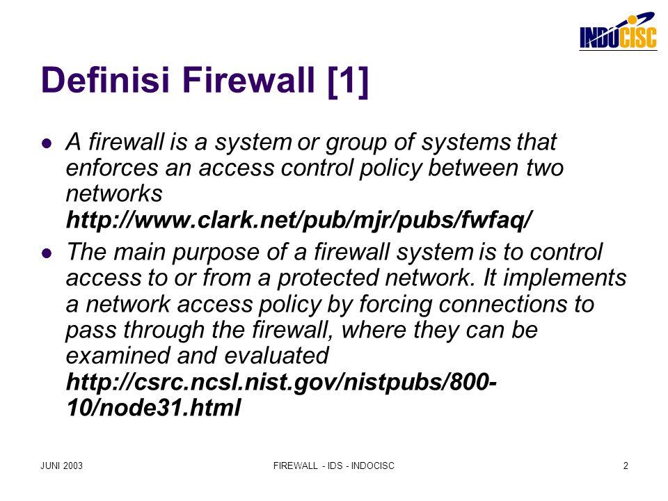 JUNI 2003FIREWALL - IDS - INDOCISC3 Definisi Firewall [2] sistem yang mengatur layanan jaringan dari mana ke mana melakukan apa siapa kapan seberapa besar/banyak dan membuat catatan layanan