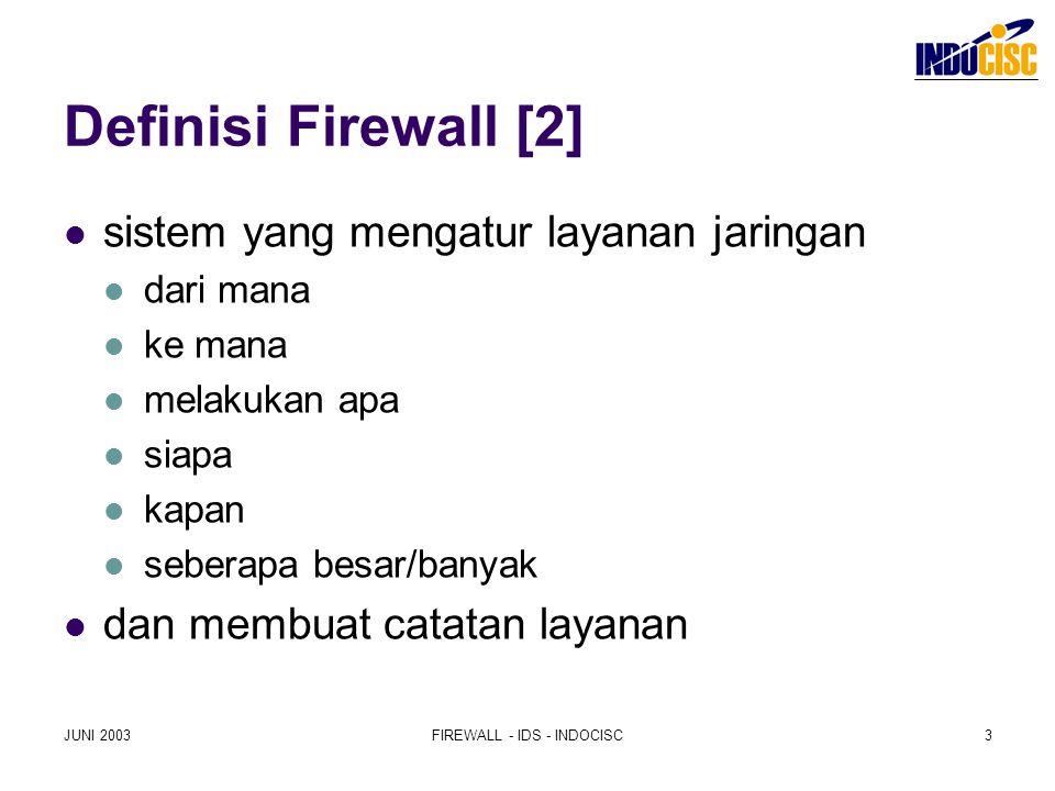 JUNI 2003FIREWALL - IDS - INDOCISC3 Definisi Firewall [2] sistem yang mengatur layanan jaringan dari mana ke mana melakukan apa siapa kapan seberapa b