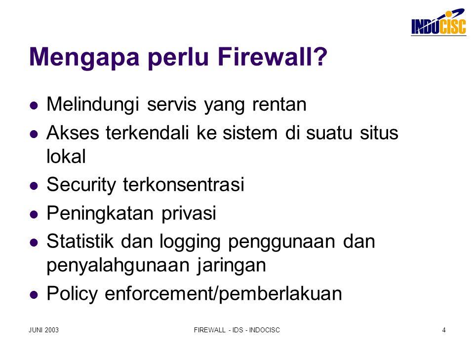 JUNI 2003FIREWALL - IDS - INDOCISC4 Mengapa perlu Firewall? Melindungi servis yang rentan Akses terkendali ke sistem di suatu situs lokal Security ter