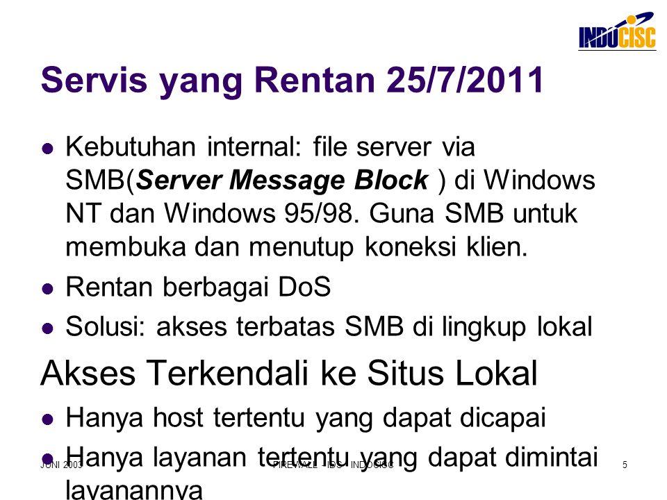 JUNI 2003FIREWALL - IDS - INDOCISC5 Servis yang Rentan 25/7/2011 Kebutuhan internal: file server via SMB(Server Message Block ) di Windows NT dan Wind